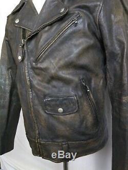 Polo Ralph Lauren Biker Moto Brown RLPC Distressed Leather Jacket Coat mens Sz M