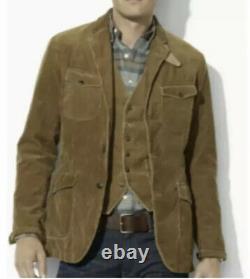 Polo Ralph Lauren Brown Corduroy Blazer Jacket RRL VTG Leather Military Hunting