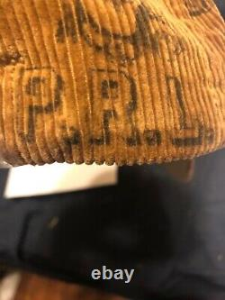 Polo Ralph Lauren Brown Tan Corduroy Baseball Hat Cap Tiger Bear Lo-life lo-head