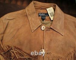 Polo Ralph Lauren Deerskin Distressed Fringed Field Western Native Jacket L Men