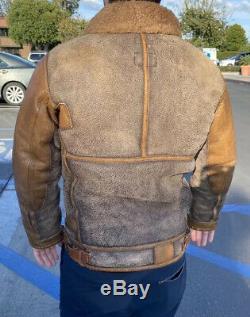 Polo Ralph Lauren Distressed Bomber Leather Jacket VTG RRL Shearling Fur Coat