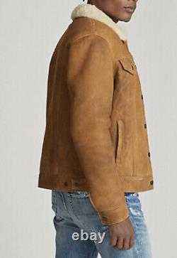 Polo Ralph Lauren Large Distressed Bomber Leather Jacket RRL Shearling Trucker