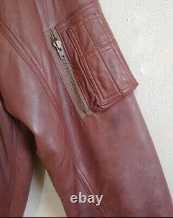 Polo Ralph Lauren Large Distressed Brown Bomber Leather Jacket RRL VTG Aviator