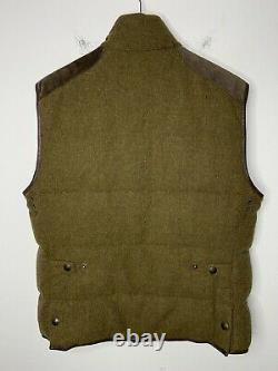 Polo Ralph Lauren Large Green Brown Hunting Jacket Vest RRL Rugby Tweed Leather