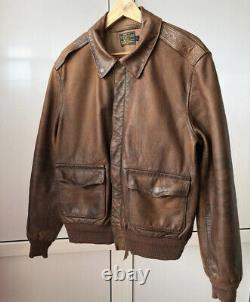 Polo Ralph Lauren Large Leather Jacket RRL VTG A2 Bomber Aviator G1 Distressed