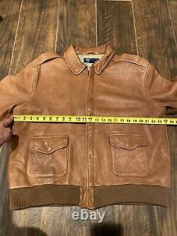 Polo Ralph Lauren Leather Jacket RRL VTG Aviator G1 Coat Brown Distressed