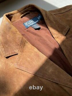 Polo Ralph Lauren Leather Jacket Size M Distressed Roughout Patina