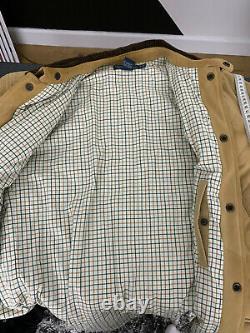 Polo Ralph Lauren Medium Brown Suede Leather Jacket RRL Hunting Coat Beige VTG