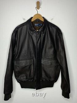 Polo Ralph Lauren Medium Dark Brown Leather Jacket RRL VTG A2 Bomber Aviator G1