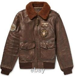 Polo Ralph Lauren Men's G1 Appliquéd Shearling Distressed Leather Bomber Jacket