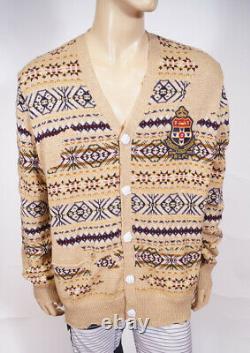 Polo Ralph Lauren Mens Brown Distressed Fair Isle Eton Cardigan Sweater XL