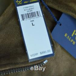 Polo Ralph Lauren Mens Brown Suede Distressed Leather Vintage Biker Moto Jacket