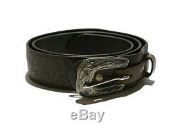 Polo Ralph Lauren Rrl Brown Tooled Distressed Leather Ranger Western Belt $350