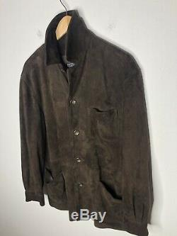 Polo Ralph Lauren Small Brown Leather Jacket RRL VTG Soft Suede Distressed Coat