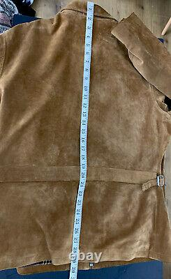 Polo Ralph Lauren Small Distressed Brown Leather RRL Hunting Suede Buckle Back