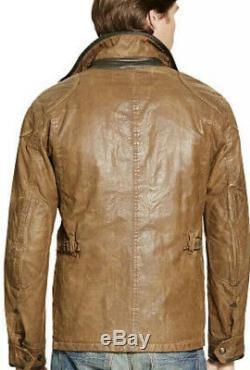 Polo Ralph Lauren Small Waxed Oil Cloth Distressed Jacket Brown RRL VTG Rugby