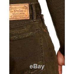 Polo Ralph Lauren Sullivan Patchwork Repaired Parker Brown Slim Fit Jeans $185+
