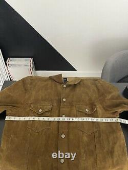 Polo Ralph Lauren X-Large Brown Leather Trucker Jacket Oil Cloth RRL Suede VTG
