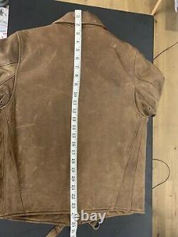 Polo Ralph Lauren X-Small Brown Leather Jacket RRL VTG Moto Biker Distressed