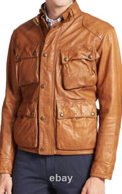 Polo Ralph Lauren XXL Southbury Brown Biker Cafe Racer Leather Jacket RRL Rugby