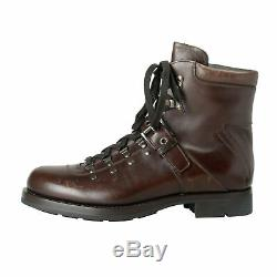 Prada Men's Brown Distressed Leather Motorcycle Boots Shoes Sz 9 9.5 11.5