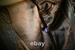 RALPH LAUREN PURPLE LABEL Large Leather Zip-Up Jacket, brown distressed