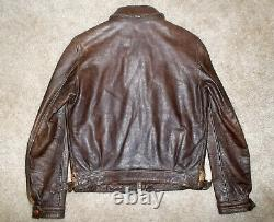 RALPH LAUREN Polo RRL Vtg 1940's Style Brown LEATHER Motorcycle Flight JACKET XS