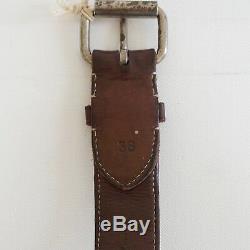 RALPH LAUREN RRL DOUBLE RL Distressed Canvas & Leather Belt 38 ITALY