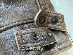 RARE Sawyer of Napa Distressed Lambskin Leather Shearling Bomber Jacket Coat XL