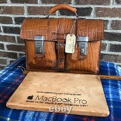 RARE VINTAGE 1940s GERMANY DISTRESSED LEATHER MACBOOK PRO BRIEFCASE BAG $998