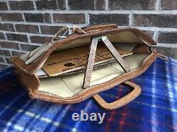 RARE VINTAGE 1970s DISTRESSED CANVAS & LEATHER MACBOOK BRIEFCASE BAG R$798