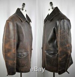 RARE VTG Men's RRL Polo Ralph Lauren Jacket Double RL Thick Distressed Leather L