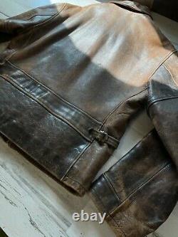 RRL Leather Jacket Biker Moto Brown Patina Distressed Size L Sears Hercules