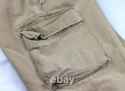RRL Ralph Lauren Brown Distressed Heavy Canvas Cargo Pocket Utility Pants 34/31