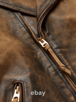 RRL Ralph Lauren Brown Motorcycle Distressed Leather Jacket Men's M Medium Biker