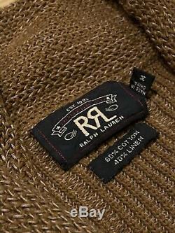RRL Ralph Lauren Cotton Linen Distressed Shawl Cardigan Brown Men's Medium M