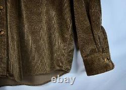 RRL Ralph Lauren Distressed Brown Corduroy Shirt Jacket Men's L Large