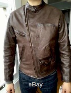 RRL Ralph Lauren Distressed Leather Jacket Cowboy X-Large Brown VTG Ranch Rugged