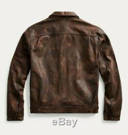 RRL Ralph Lauren Distressed Motorcycle Denim Modeled Leather Jacket Men's XL