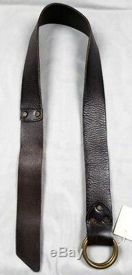 RRL Ralph Lauren Double RL Vintage Distressed Italy O Ring Brown Leather Belt 28