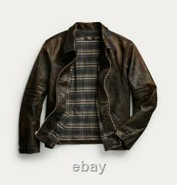 RRL Ralph Lauren Full Zip Leather Jacket Brown Distressed Men's Size Medium M