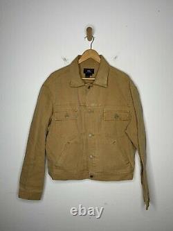 RRL Ralph Lauren Large Brown Jacket VTG Cruiser Coat Polo Trucker Khaki Canvas