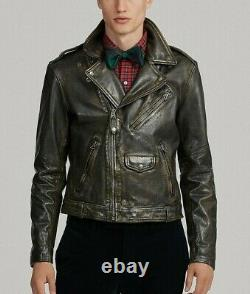 RRL Ralph Lauren Leather Moto Brown Biker 1940's Jacket Men's M Medium RRL