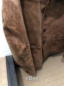 RRL Ralph Lauren Shearling-Trim Tan Distressed Leather Car Coat Jacket NWT S