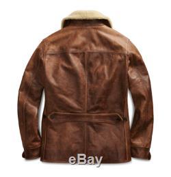 RRL Ralph Lauren Shearling-Trim Tan Distressed Leather Car Coat Jacket NWT XL