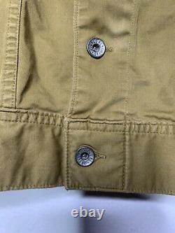 RRL Ralph Lauren Small Brown Jacket VTG Cruiser Coat Polo Trucker Khaki Canvas