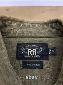 RRL Ralph Lauren Small Western Shirt Polo Rodeo Concho Distressed Brown Green