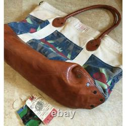 RUGBY by Ralph Lauren Tote Bag Canvas Cotton /Aged Leather With Tag Distress Auth