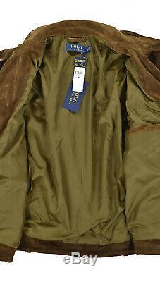 Ralph Lauren Polo Distressed Brown Suede Leather Biker Moto Jacket XL New $895
