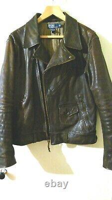 Ralph Lauren Sierra Brown Motorcycle Distressed Leather Jacket Men's